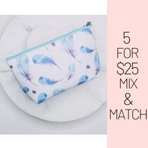 Handbags - 5 for $25 White and Blue Feather Pattern Print Bag